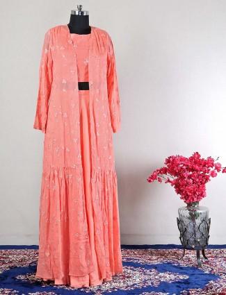 Latest peach designer lehenga style salwar kameez