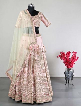 Latest peach raw silk designer wedding wear lehenga choli