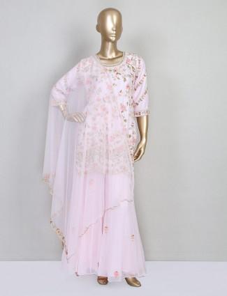 Latest pink cotton silk sharara salwar kameez