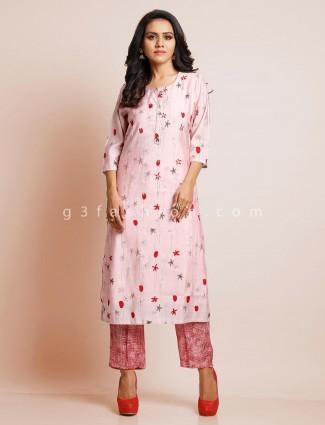 Latest pink cotton suit for festive session