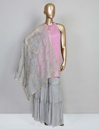 Latest pink designer salwar kameez in satin silk