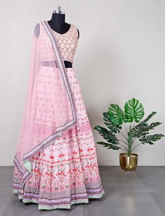 Latest pink silk lehenga choli for wedding