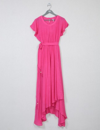 Latest pink solid poly cotton dress