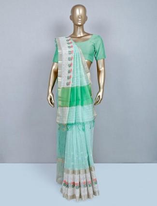 Latest pista green cotton wedding wear saree