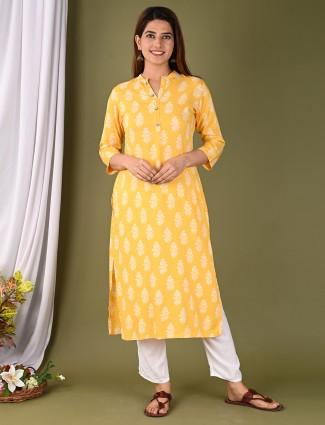 Latest printed casual wear yellow kurti in cotton