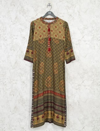 Latest printed green cotton casual kurti