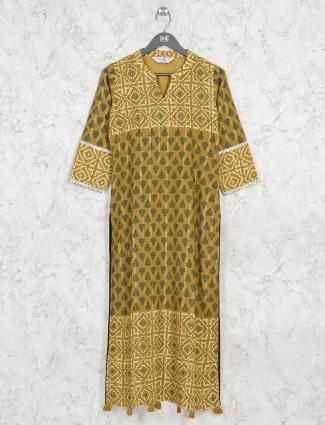 Latest printed green cotton casual wear kurti
