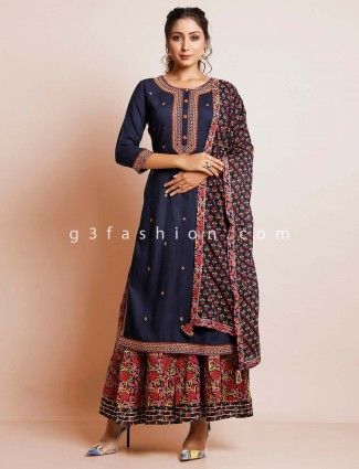 Latest printed navy palaazo suit for festivals