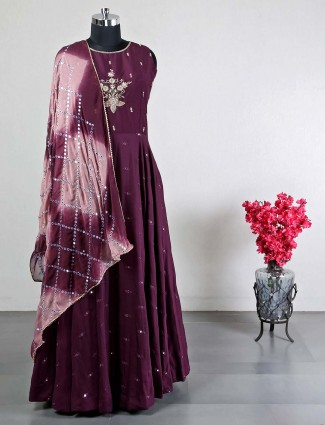 Latest purple cotton silk anarkali suit for wedding