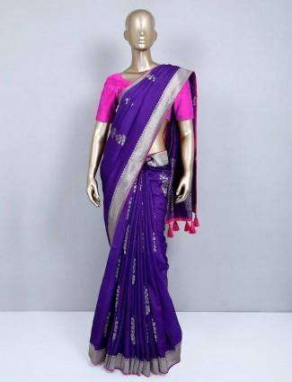 Latest purple muga silk wedding wear saree