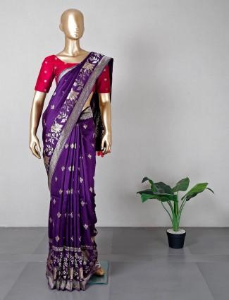 Latest purple silk wedding wear saree