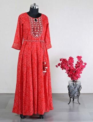 Latest red cotton wedding wear kurti