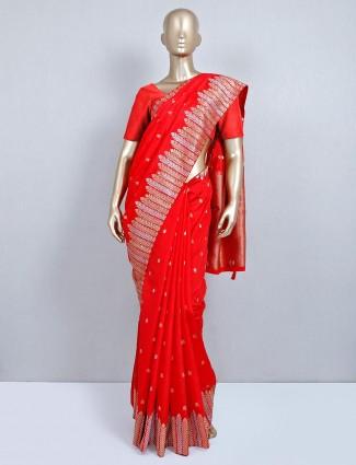 Latest red semi silk designer wedding wear saree