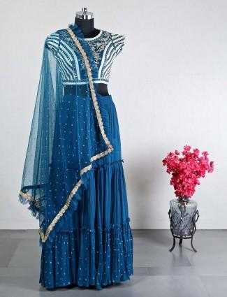 Latest teal blue cotton silk wedding lehenga choli