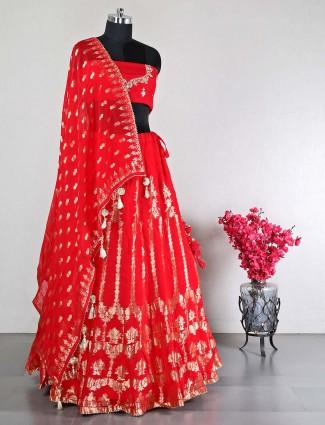 Latest unstitched red raw silk lehenga choli for wedding