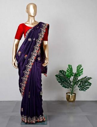 Latest violet festive wear silk saree