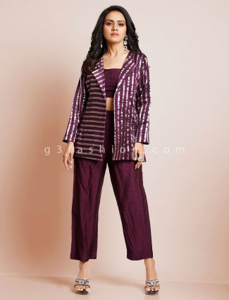 Latest wine raw silk indowestern suit