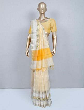 Latest yellow cotton wedding saree