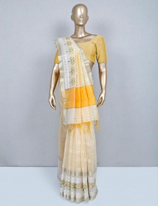 Latest yellow cotton wedding wear saree