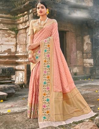 Lavish pink banarasi silk wedding wear saree