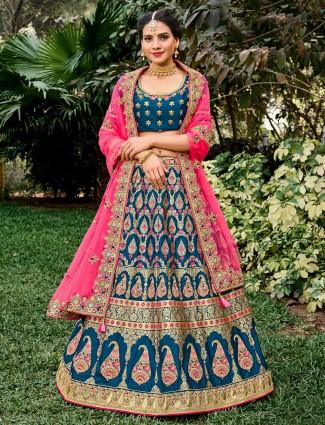 Lavish wedding wear semi stitched lehenga choli in blue
