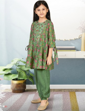 Leaf green wedding ceremonies printed pant suit for girls
