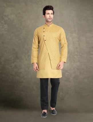 Lemon yellow cotton jacket style printed kurta suit