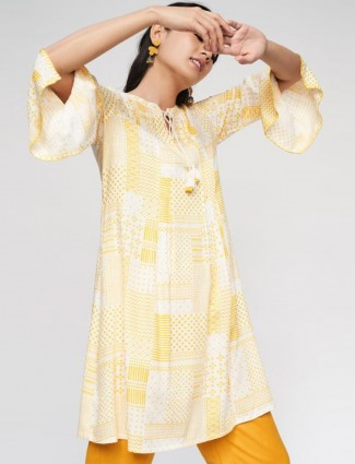 Lemon yellow festive look tunic for women
