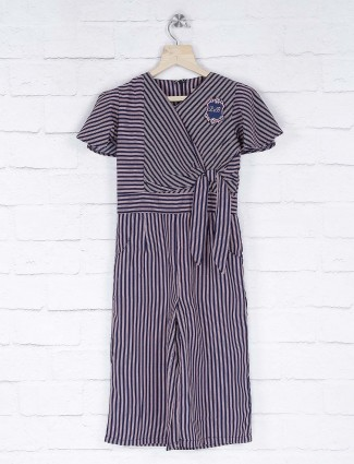 Leo N Babes light pink stripe pattern casual jump suit