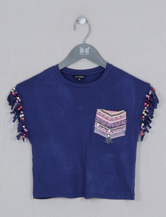 Leo N Babes navy casual wear cotton sleeveless top for girls