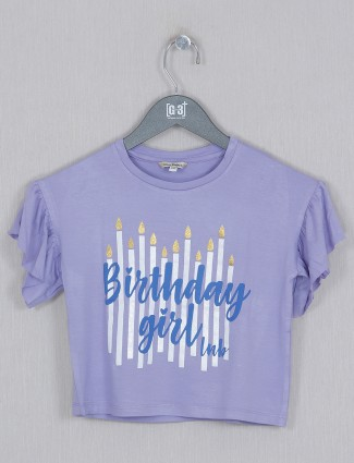 Leo N Babes printed cotton girls top in lavender blue