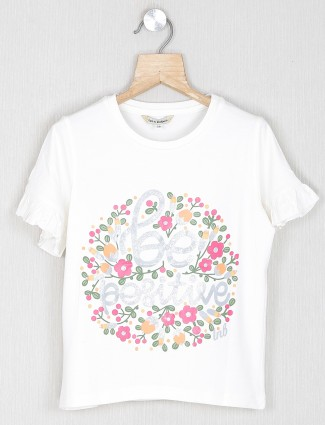 Leo N Babes printed off white top in cotton