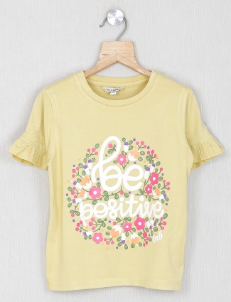 Leo N Babes printed yellow cotton casual top