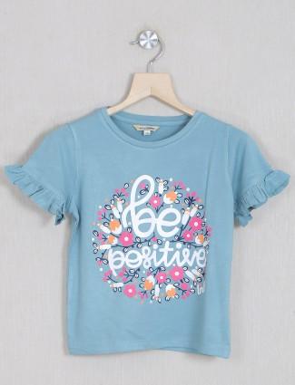 Leo n Babes printed powder blue top for girls