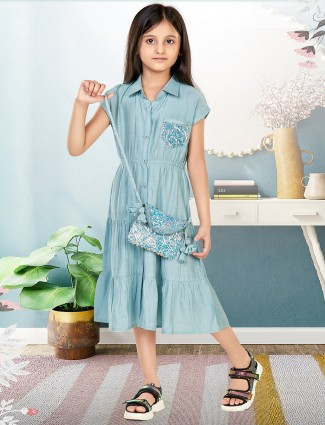 Leo N Babes stone blue cotton casual frock