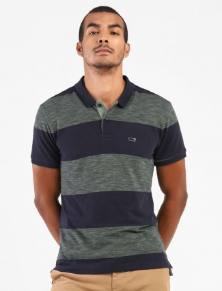 Levis navy and green mens stripe polo t-shirt