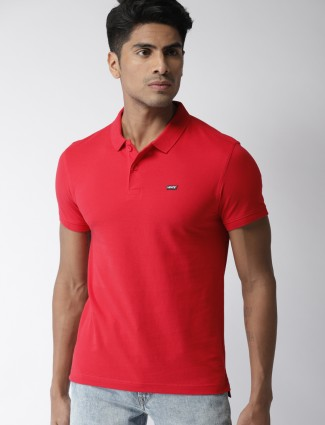 Levis red solid slim fit t-shirt