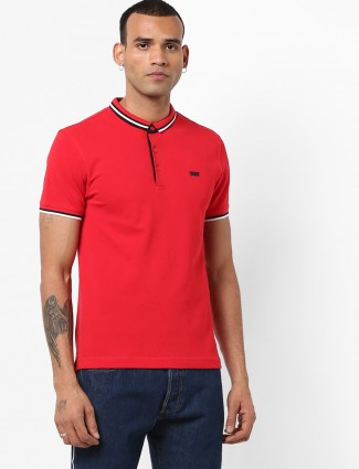 Levis solid bright red cotton t-shirt