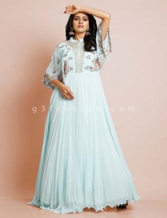 Light blue party  wear salwar suit