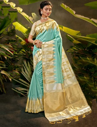 Light blue party wear silk saree