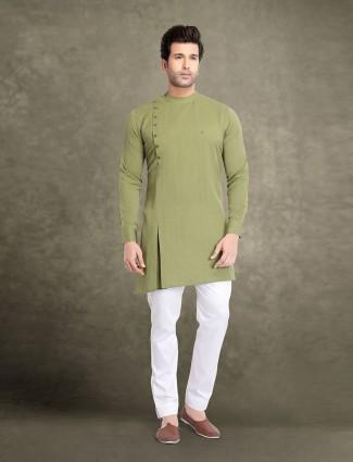 Light green cotton festive function kurta suit