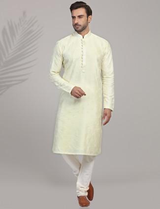 Light green cotton silk kurta suit for mens