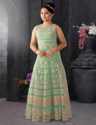 Light green net fabric gown