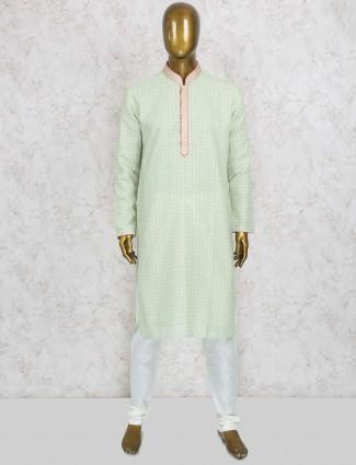 Light green printed cotton silk kurta suit