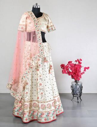 Lovely beige silk wedding wear lehenga choli