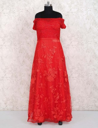 Lovely red color gown in net