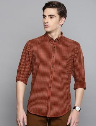 LP Sport rust orange checks pattern shirt