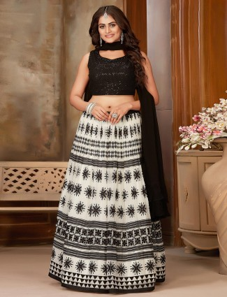 Luxuriant black and white georgette printed party wear lehenga choli