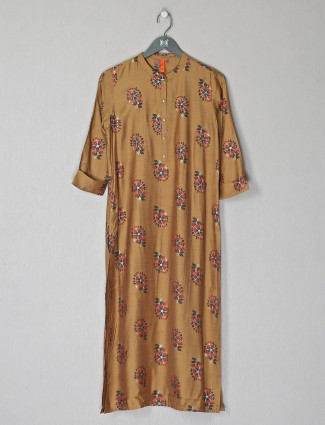 Luxuriant brown silk casaul wear printed kurti