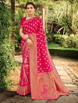 Magenta banarasi silk wedding saree for women